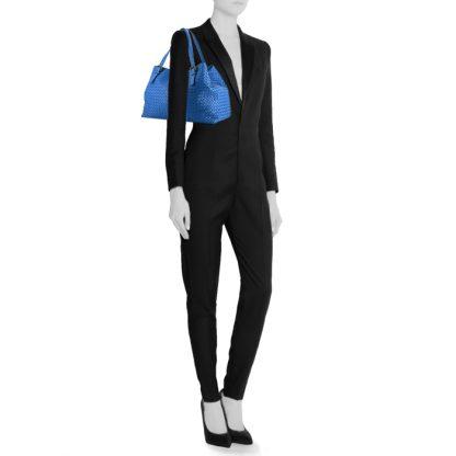 High Quality Bottega Veneta Replica Cesta large model shopping bag in blue  intrecciato leather d0012f8310b68