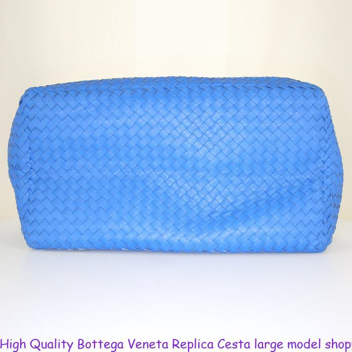 High Quality Bottega Veneta Replica Cesta large model shopping bag in blue intrecciato  leather 8c912e4d8dd8f
