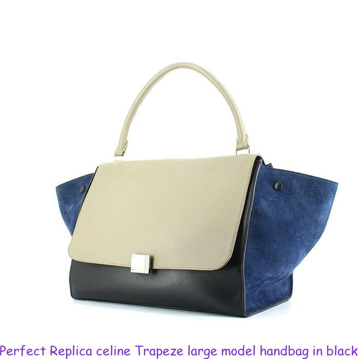 Perfect Replica celine Trapeze large model handbag in black and etoupe  leather and blue suede 502205ea42b30