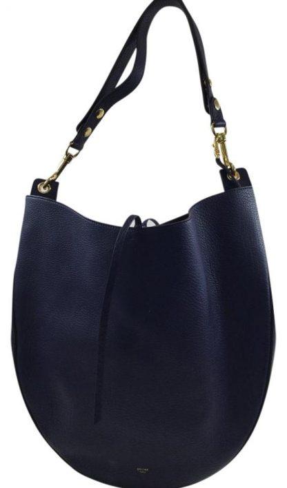 1721c7c0ee4 1:1 Céline Mirror Large Dark Blue Leather Hobo Bag high quality designer  replica handbags wholesale