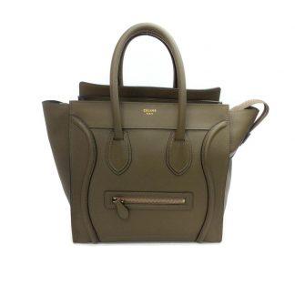 816f57fc68fd 1:1 Céline Replica Luggage Mini Olive Green Drummed Leather Tote celine  replica belt bag