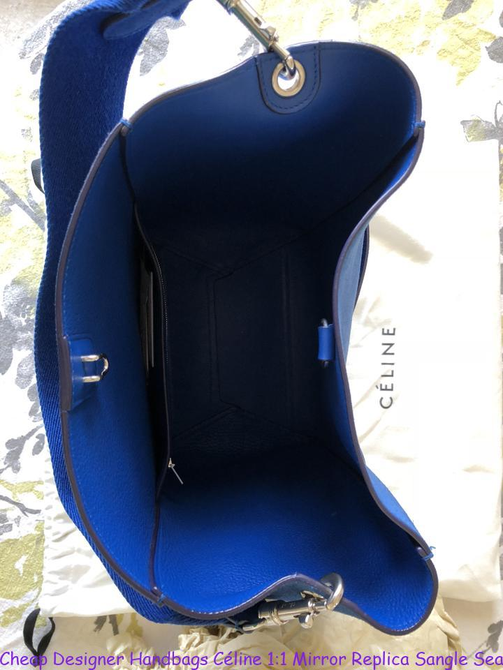 b694b4a08ec Cheap Designer Handbags Céline 1:1 Mirror Replica Sangle Seau Suede Large  Blue Nubuck Leather Tote celine box bag