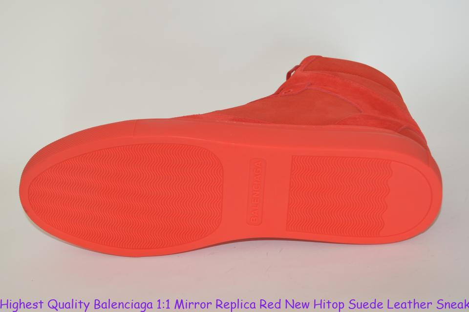 afcf9687fe79 Highest Quality Balenciaga 1 1 Mirror Replica Red New Hitop Suede Leather  Sneakers Eu 43 Mens Sneakers fake balenciaga triple s for sale