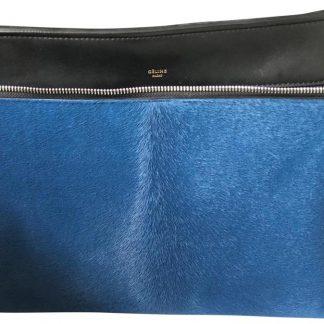 Highest Quality Céline Imitation Edge Medium Blue Black Leather with  Ponyhair Satchel celine replica mini belt bag ... a4c3be9a60ed2