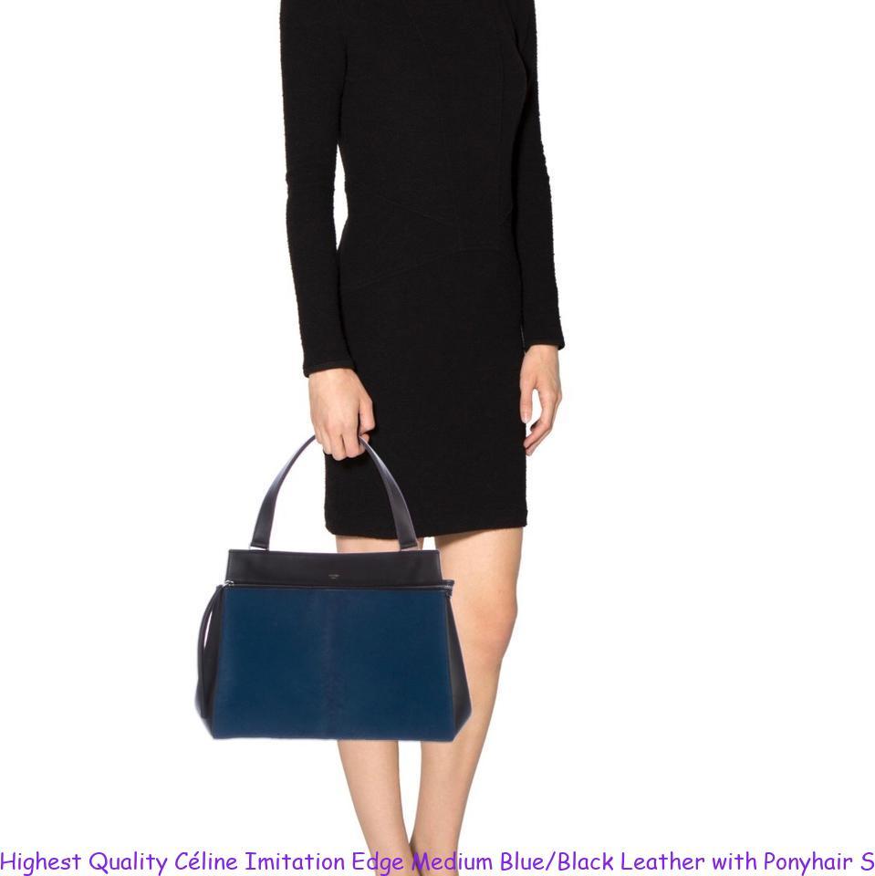c2a05a0239ea Highest Quality Céline Imitation Edge Medium Blue/Black Leather with  Ponyhair Satchel celine replica mini belt bag