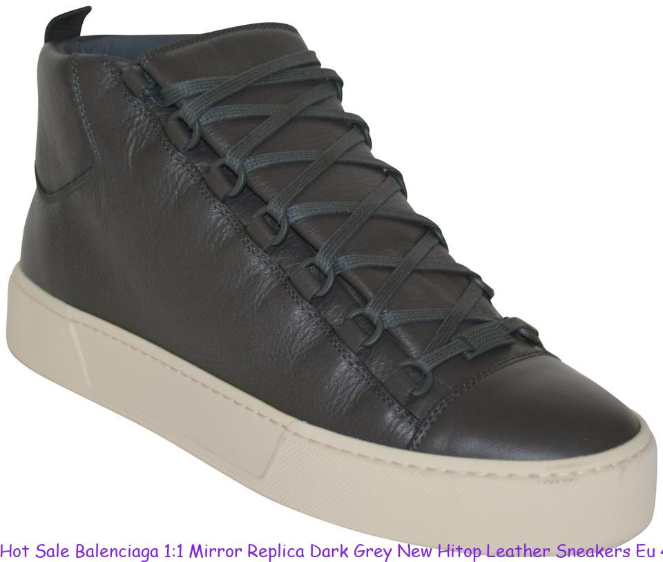 1e6aa9b9370 Hot Sale Balenciaga 1:1 Mirror Replica Dark Grey New Hitop Leather Sneakers  Eu 41 Mens Sneakers replica designer handbags uk
