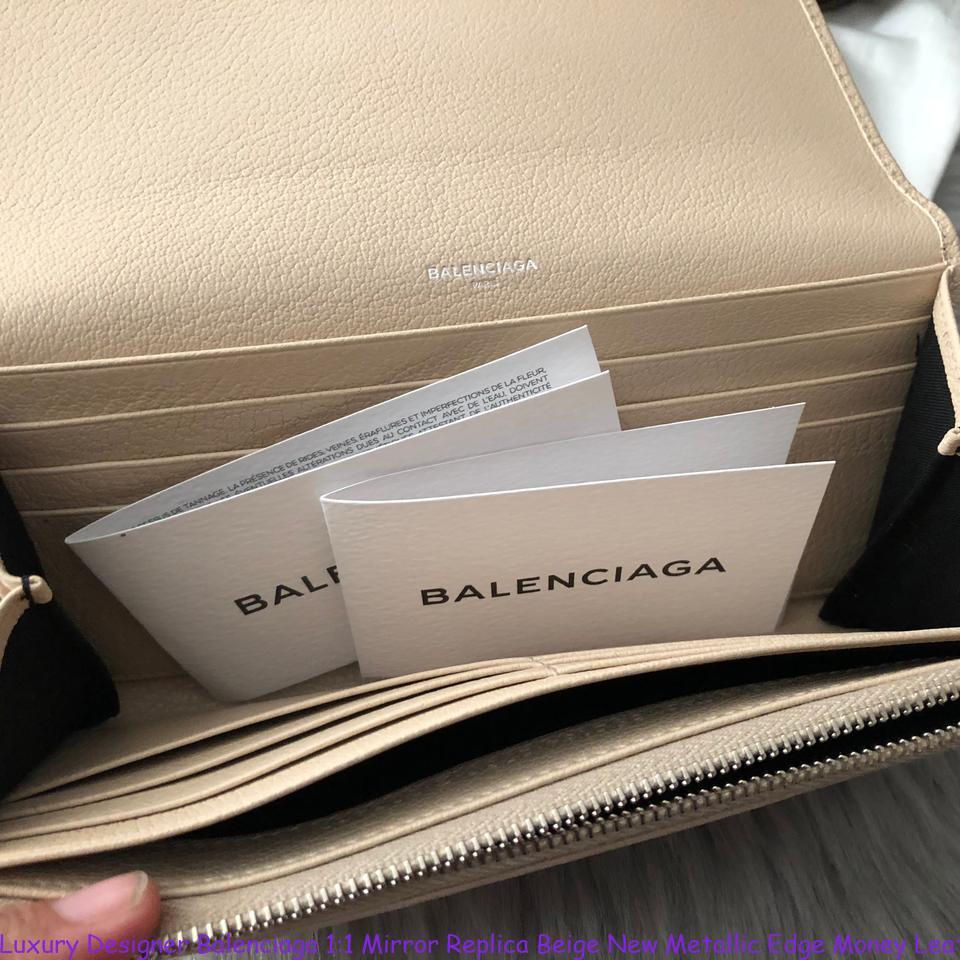 ea0f7fe34c48 Luxury Designer Balenciaga 1 1 Mirror Replica Beige New Metallic Edge Money  Leather Wallet replica handbags