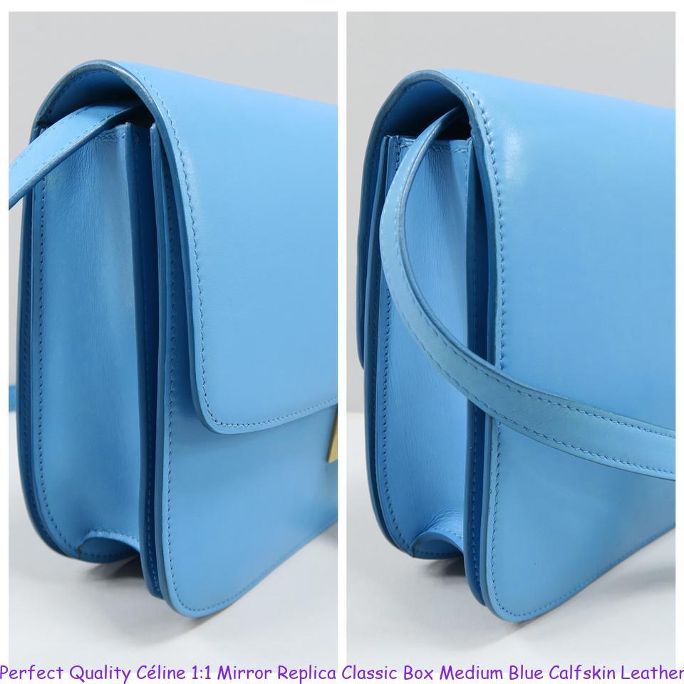 bfcbb439a500 Perfect Quality Céline 1 1 Mirror Replica Classic Box Medium Blue Calfskin  Leather Shoulder Bag celine phantom bag