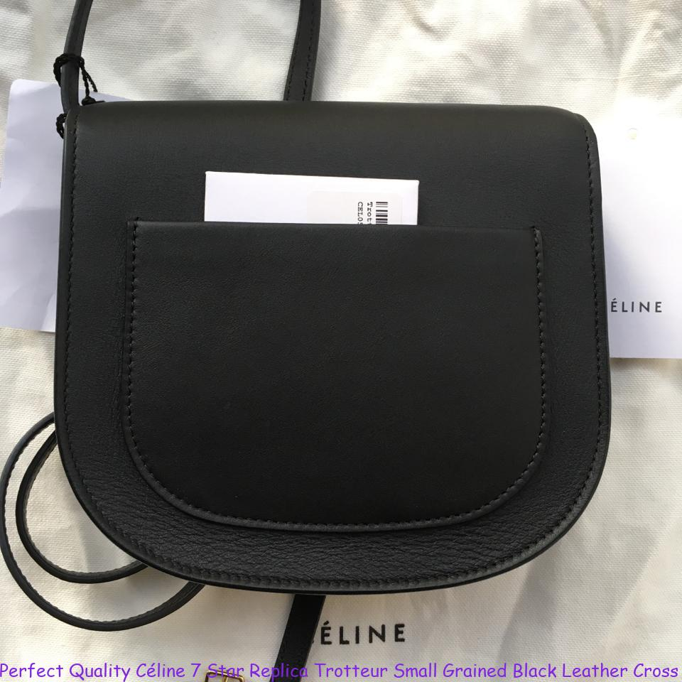 702841dfe9c Perfect Quality Céline 7 Star Replica Trotteur Small Grained Black Leather  Cross Body Bag replica handbags