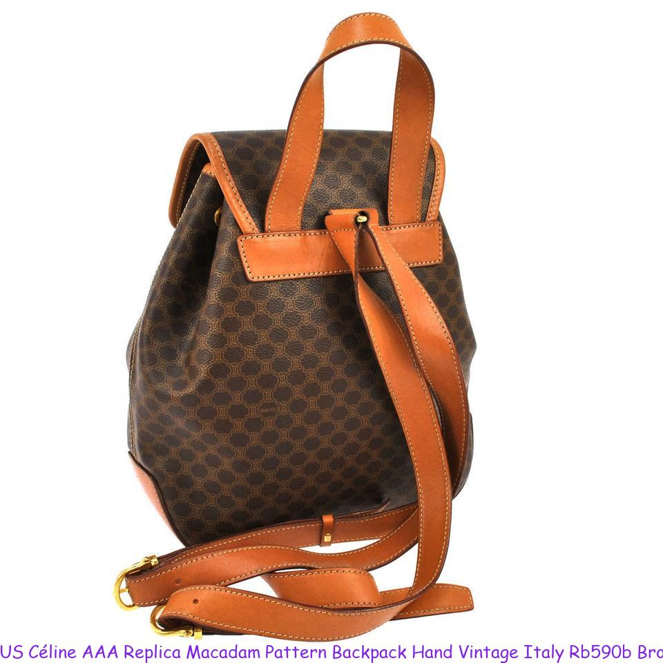 7819561163a US Céline AAA Replica Macadam Pattern Backpack Hand Vintage Italy Rb590b  Brown Pvc Leather Shoulder Bag celine replica