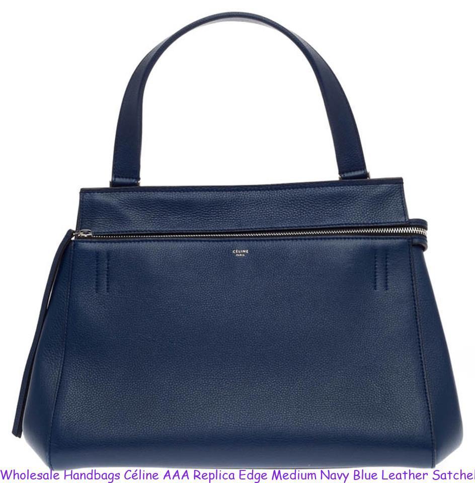 Wholesale Handbags Céline AAA Replica Edge Medium Navy Blue Leather Satchel  celine replica box b1cf23fb9a169